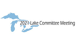 Great lakes silhouette with 2021 Lake Committee Meeting overlayed