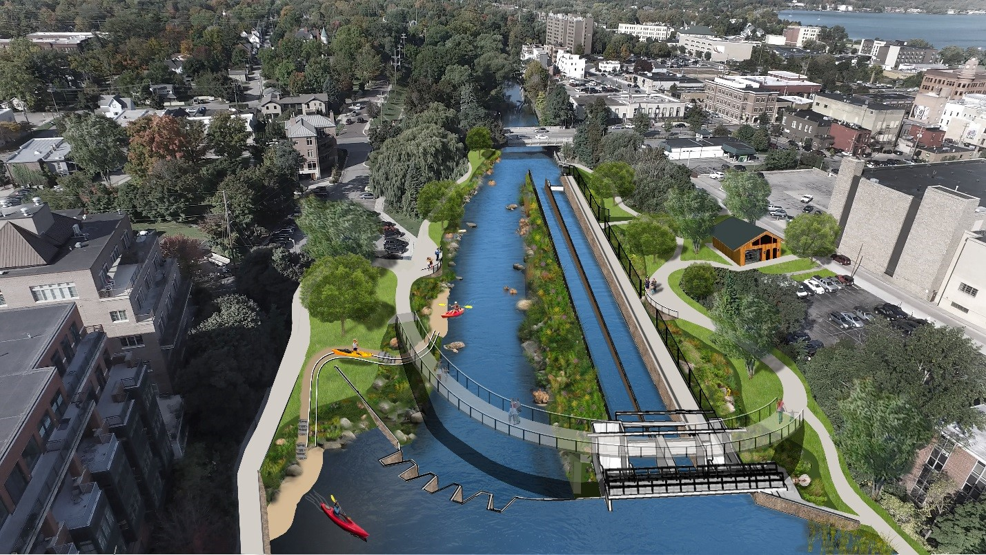 A rendering of the Boardman River after the FishPass project