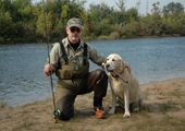 Fly Fisherman and his Dog