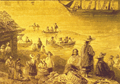 Drawing, Fish Market Near River, Historical