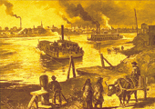 Drawing, River and Boat Trade on the River, Historical
